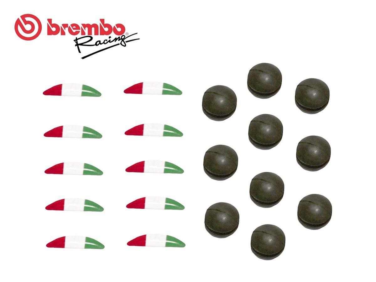 TAPPO IN GOMMA +ADESIVO BANDIERA ITALIANA BREMBO RACING POMPA RCS FRENO/FRIZIONE