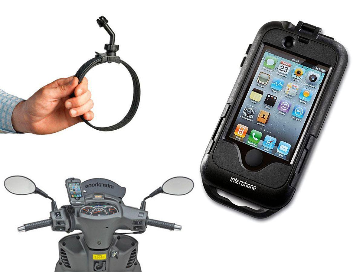 PORTA SMARTPHONE IPHONE 4 / 4S BLACK MOTO SCOOTER INTERPHONE CELLULARLINE MANUBRIO NON TUBOLARE