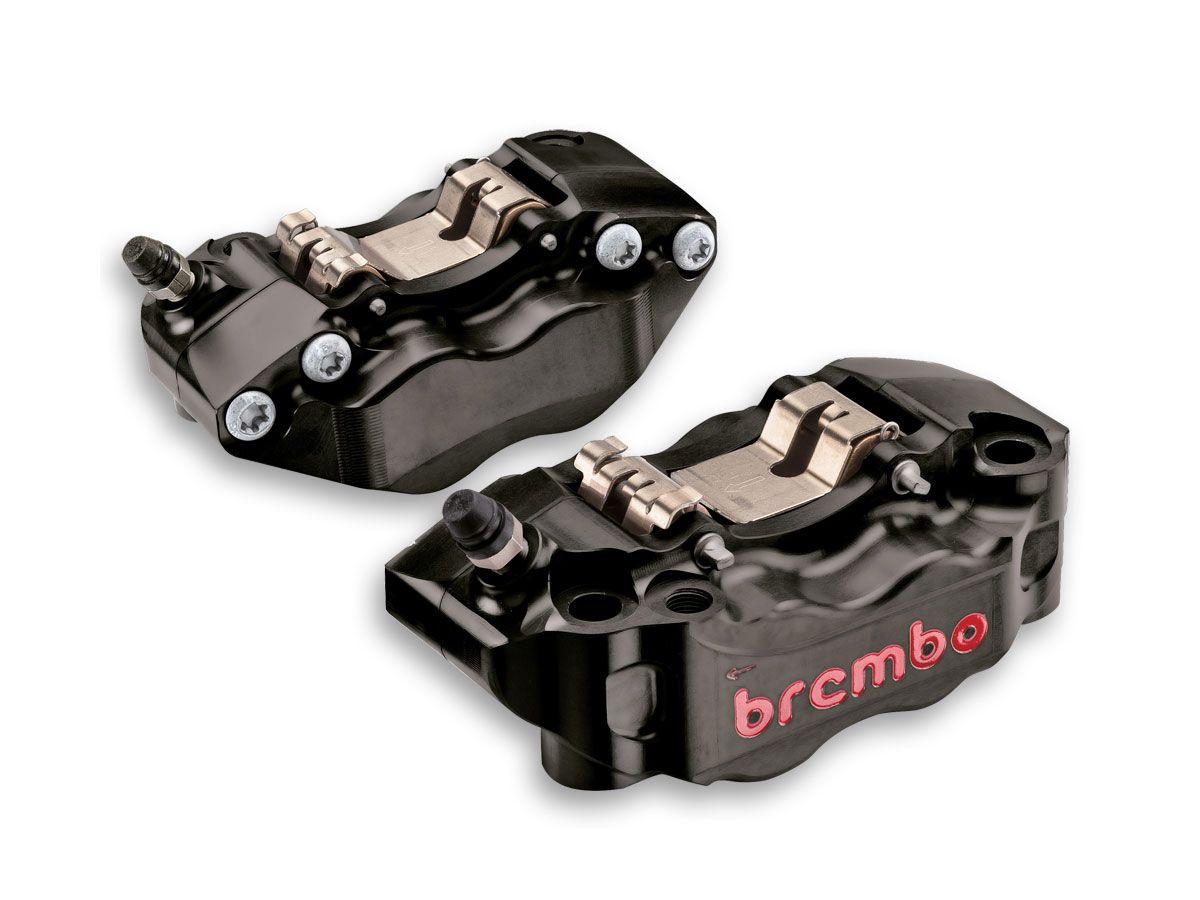 PAR DE PINZAS DE FRENO RADIALES BREMBO RACING CNC GP4-RB NEGRO 108MM MONOBLOCK