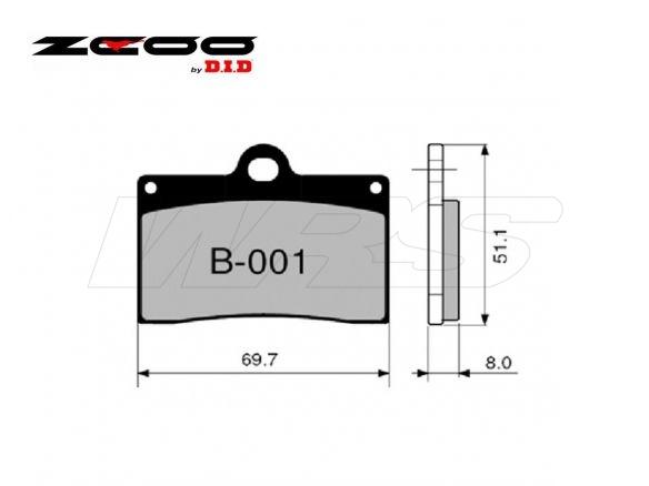 FRONT SET ZCOO BRAKE PAD B001EX CAGIVA RAPTOR 125 2003-