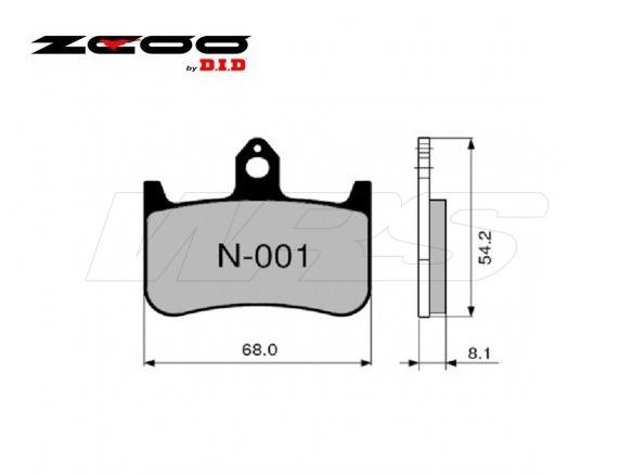 FRONT SET BRAKE PADS ZCOO N001EXC HONDA CB 900 HORNET 2001-