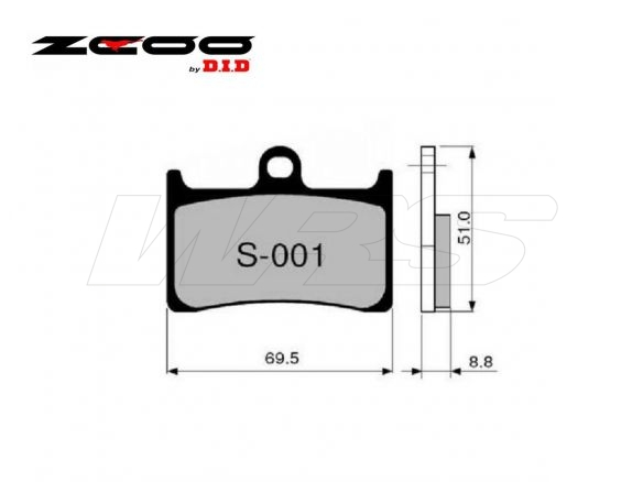 FRONT SET BRAKE PADS ZCOO S001EXC YAMAHA YZF 1000 R1 / M 2015-