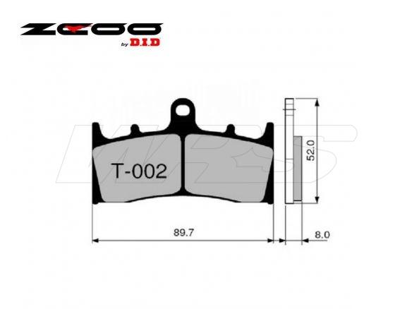 FRONT SET BRAKE PADS ZCOO T002EXC KAWASAKI ZRX 1200 R / S 2001-2003