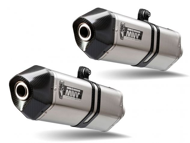 PAIR SILENCERS MIVV SPEED EDGE INOX CARBON TRIUMPH SPEED TRIPLE 2016-2018