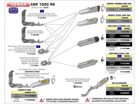 TERMINALE INDY RACE ARROW ALLUMINIO CARBONIO HONDA CBR 1000 RR 2012-2013