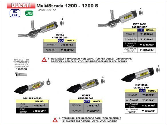 TERMINALE INDY RACE ARROW ALLUMINIO DARK DUCATI MULTISTRADA 1200 / S 2015-2017
