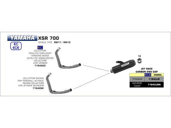 SILENCER JET RACE ARROW STEEL DARK YAMAHA XSR 700 2016-2018