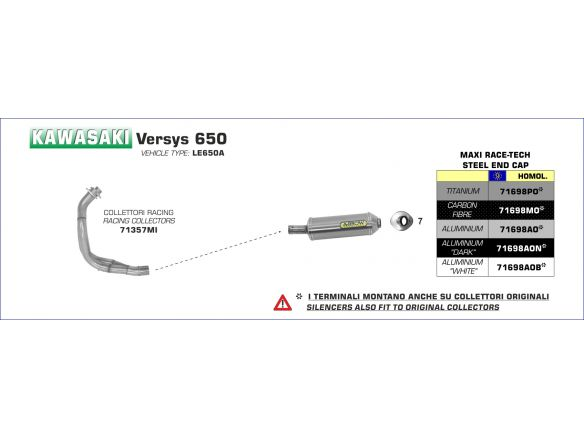 TERMINALE MAXI RACE TECH ARROW CARBONIO KAWASAKI VERSYS 650 2007-2014
