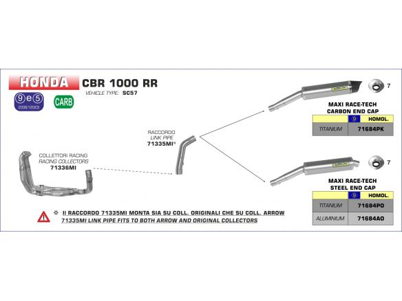 SILENCER MAXI RACE TECH ARROW TITANIUM INOX HONDA CBR 1000 RR 2004-2005