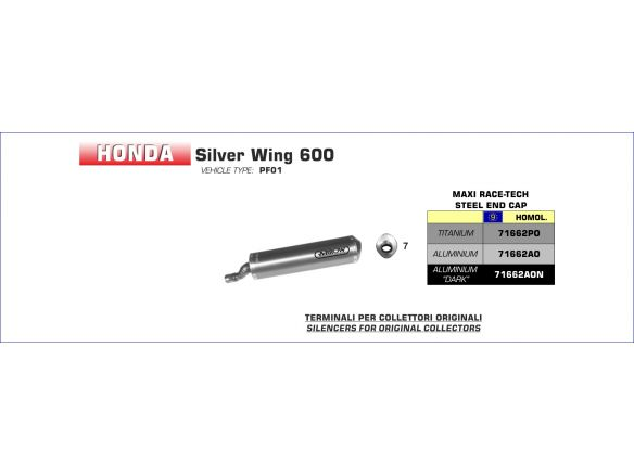 TERMINALE MAXI RACE TECH ARROW TITANIO HONDA SILVER WING 600 2001-2006