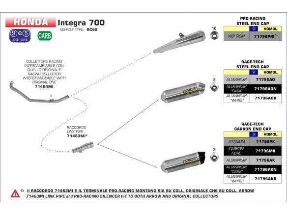 SILENCER RACE TECH ARROW ALUMINUM DARK CARBON HONDA NC 700 D INTEGRA 2012-2013