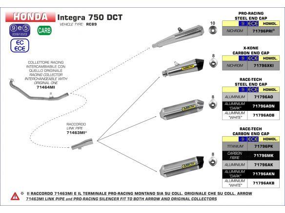 SILENCER RACE TECH ARROW ALUMINUM DARK CARBON HONDA INTEGRA 750 DCT 2016-2018