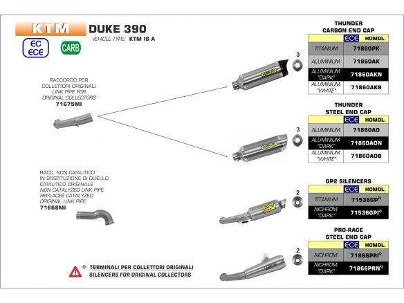 TERMINALE THUNDER ARROW ALLUMINIO DARK INOX KTM DUKE 390 2017-2018