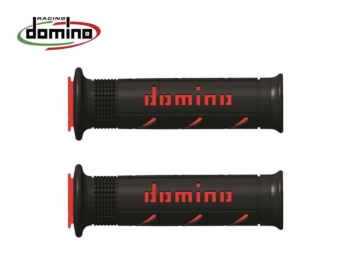 PAIR KNOBS BLACK/RED DOMINO ROAD DIAMETRO 20-24
