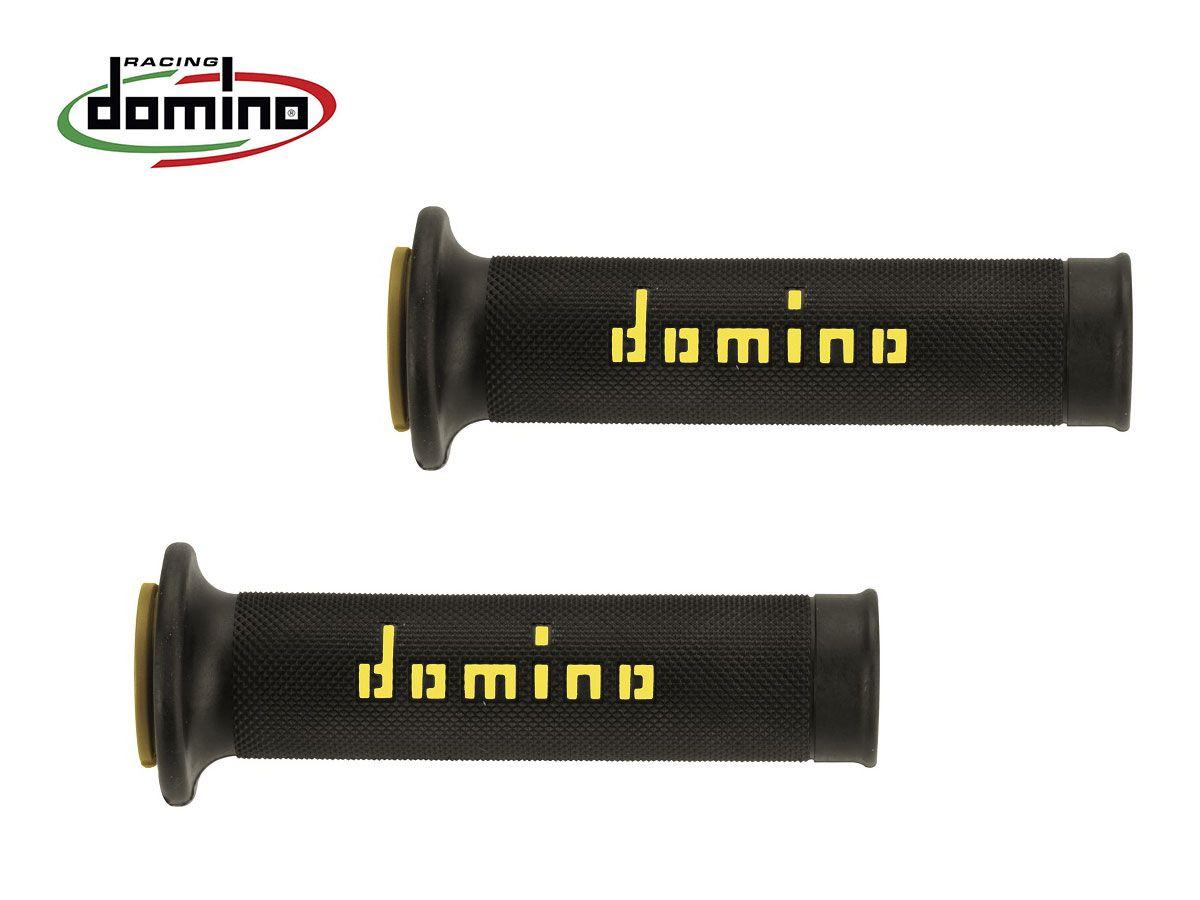 COPPIA MANOPOLE RACING DOMINO STRADALI DIAMETRO 20-24 NERO-GIALLO