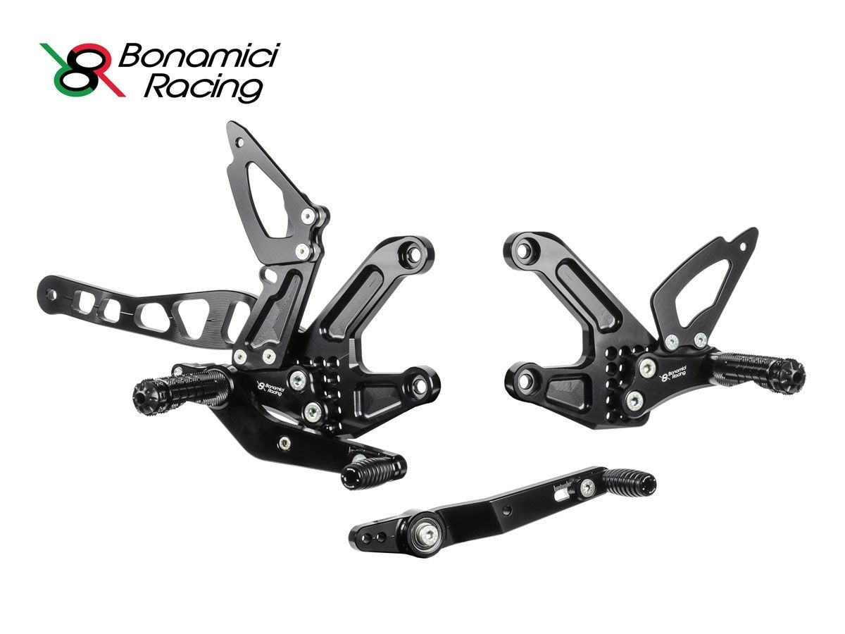 BONAMICI RACING ADJUSTABLE REARSETS WITH RED CAPS YAMAHA MT-10 2016-2018