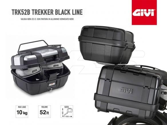 52 litri Bauletto nero Givi Trekker Monokey TRK52B con finitura in alluminio