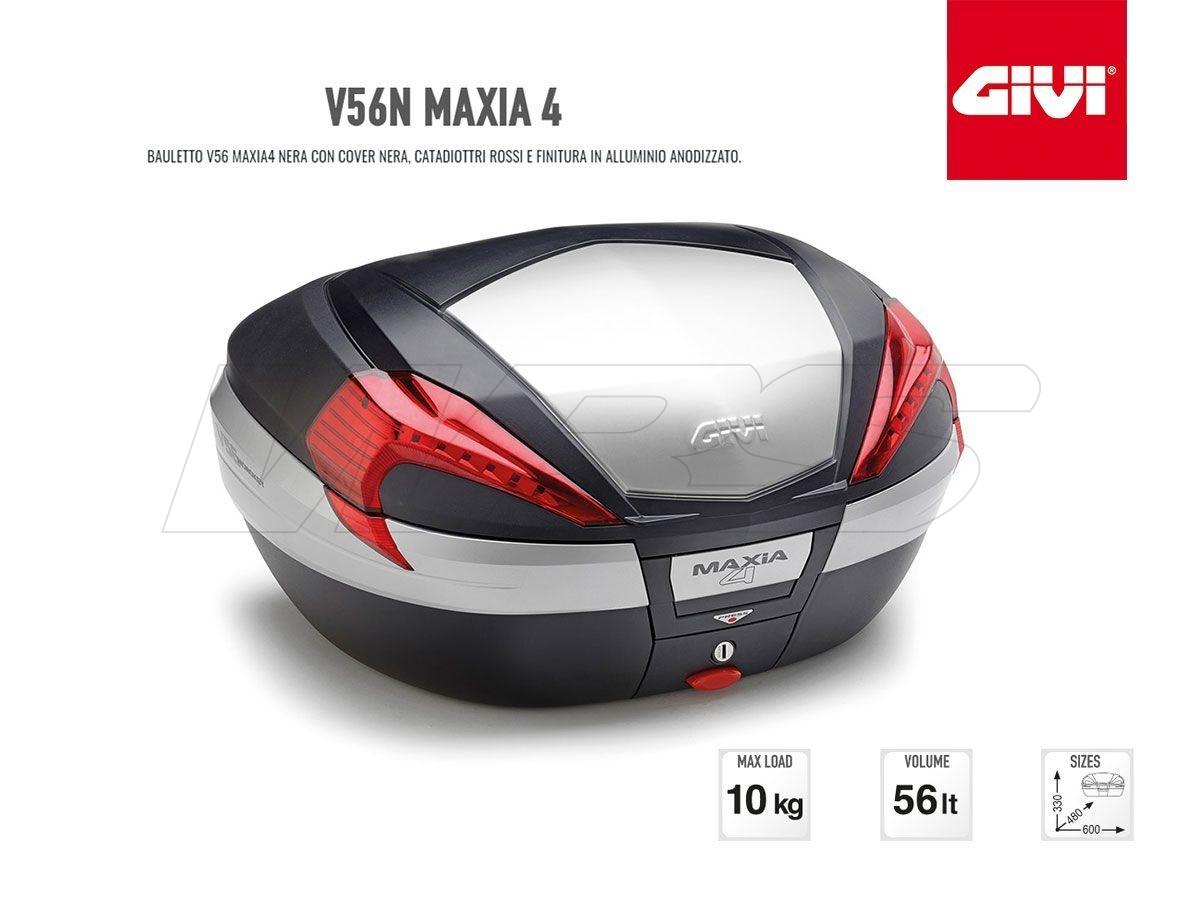 V56N GIVI MOTORCYCLE TOP CASE MAXIA 4 ALUMINUM RED LIGHT 56LT