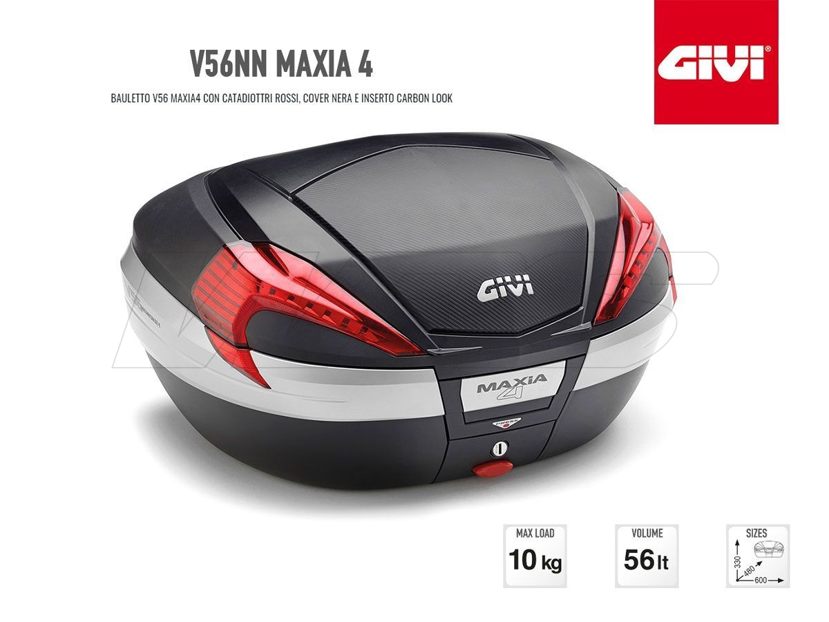 V56NN GIVI MOTORCYCLE TOP CASE MAXIA 4 ALUMINUM CARBON LOOK RED LIGHT 56LT