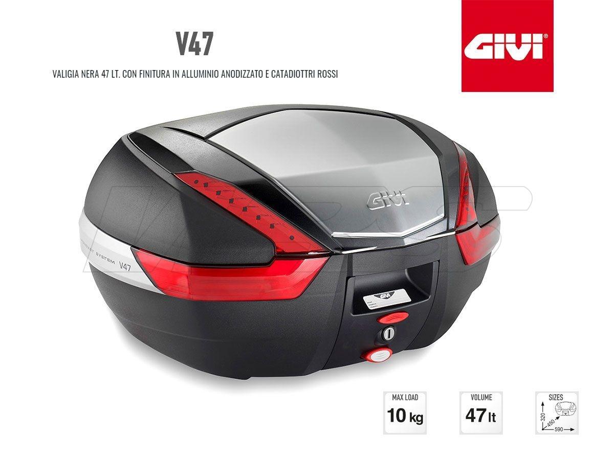 V47N GIVI MOTORCYCLE ALUMINUM TOP CASE MONOKEY 47LT RED LIGHT