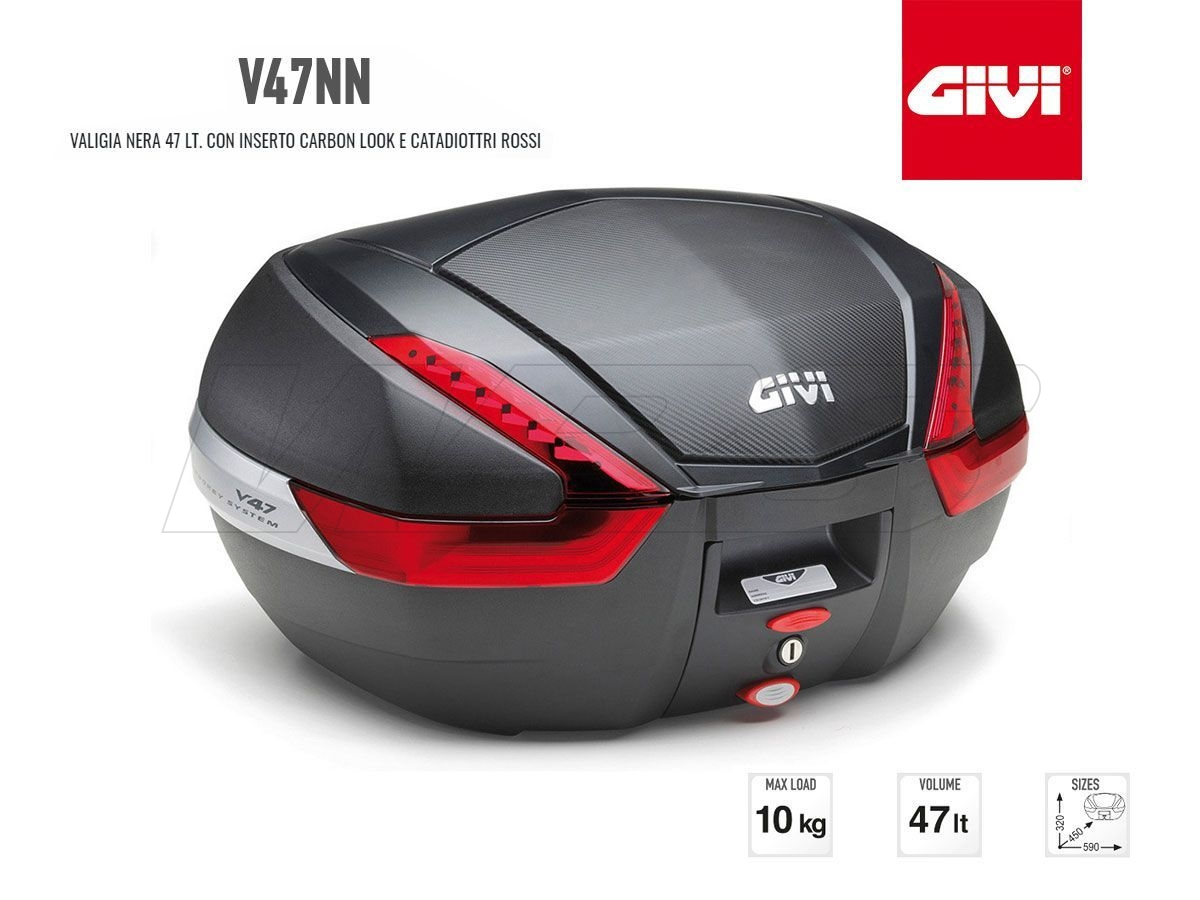 V47NN GIVI MOTORCYCLE CARBON LOOK TOP CASE MONOKEY 47LT RED LIGHT