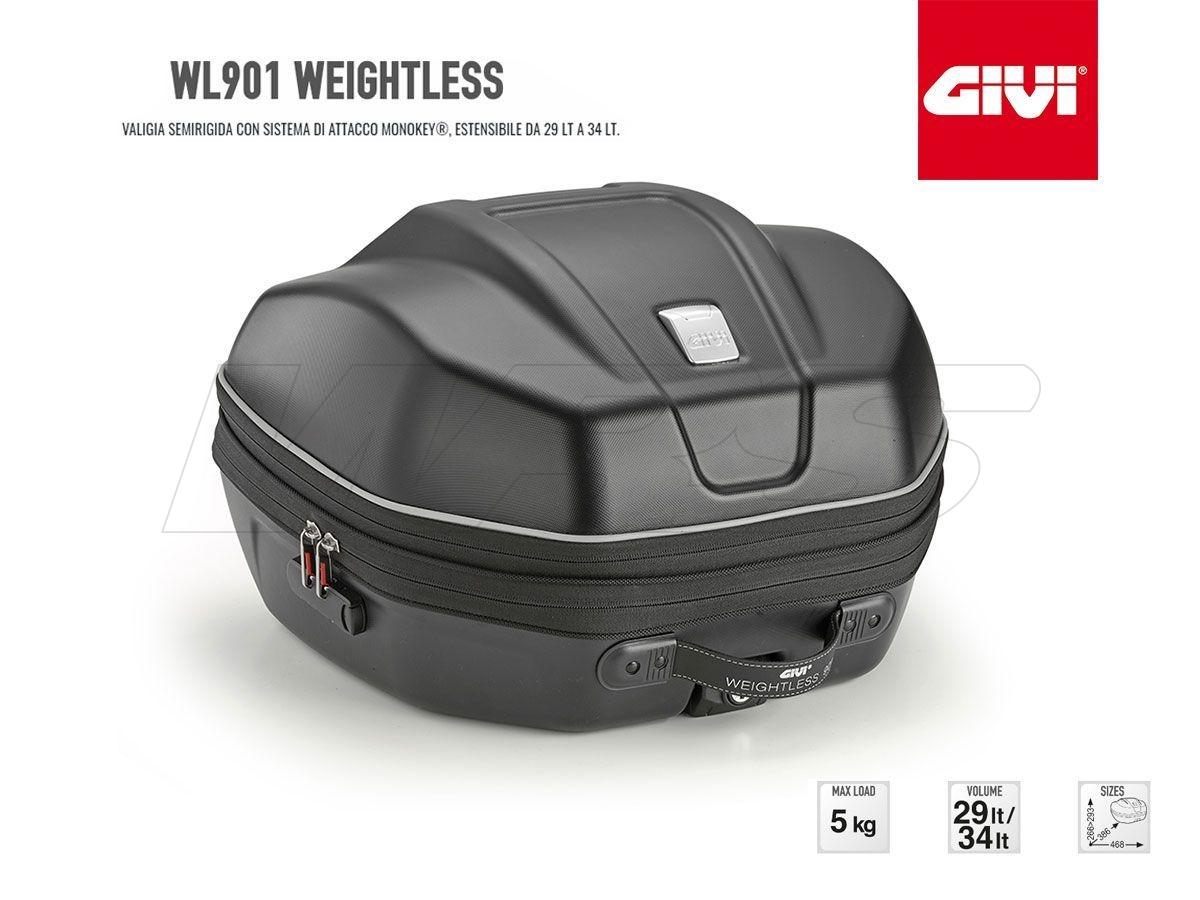 WL901 GIVI MOTORCYCLE TOP CASE WEIGHTLESS MONOKEY EXTENSIBLE 29LT / 34LT