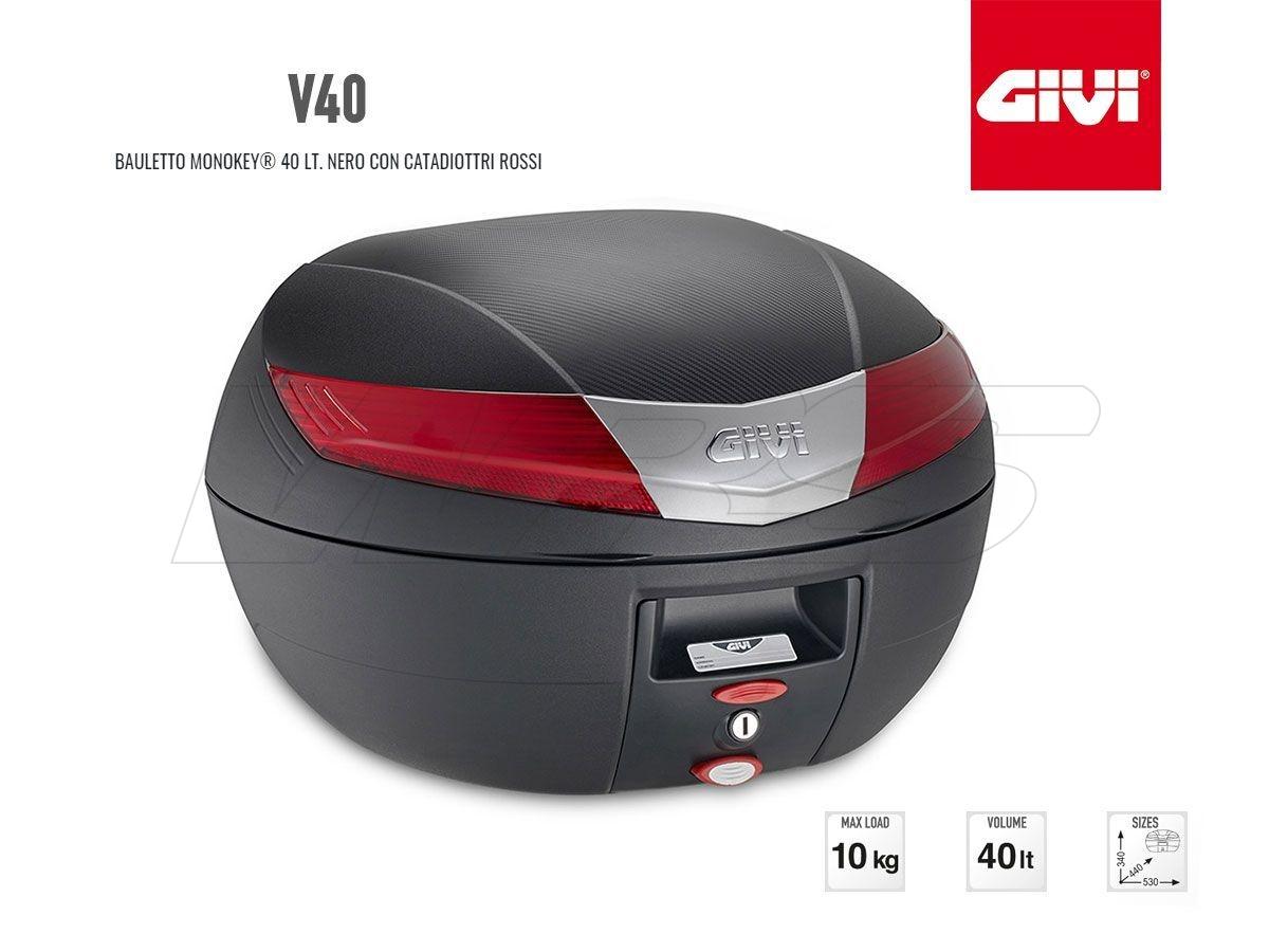 V40N GIVI MOTORCYCLE TOP CASE MONOKEY 40LT BLACK WITH RED LIGHT