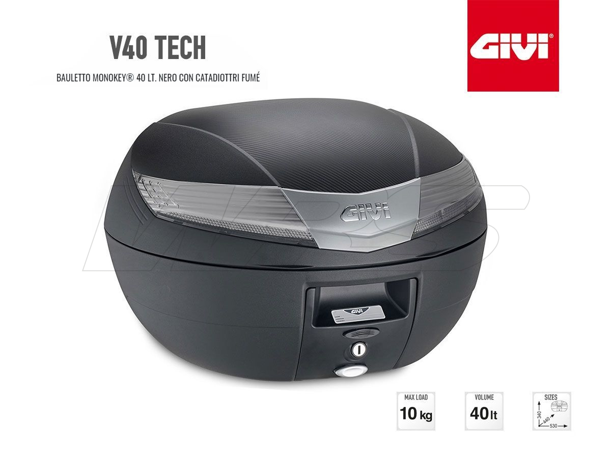 V40NT GIVI MOTORCYCLE TOP CASE MONOKEY 40LT BLACK WITH SMOKED LIGHT