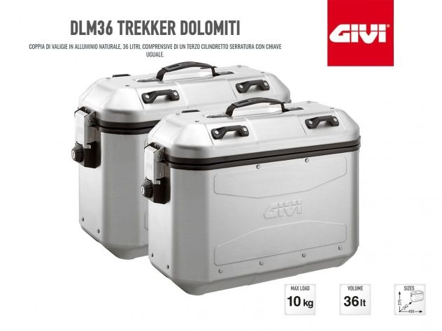 DLM36A GIVI RETRO FIT PAIR PANNIERS TREKKER DOLOMITI 36LT ALUMINUM