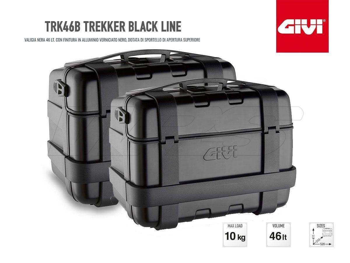 TRK46B GIVI PAIR PANNIERS MOTORCYCLE TREKKER 46LT BLACK ALUMINUM MONOKEY