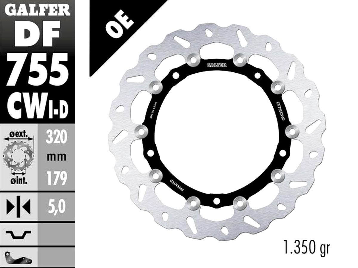 DF755CW1 GALFER FRONT RIGHT FLOATING DISC BMW S 1000 RR 2009-2018